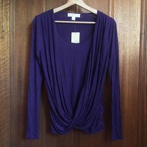 NWT Michael Kors Long Sleeve Faux Wrap Drape Top